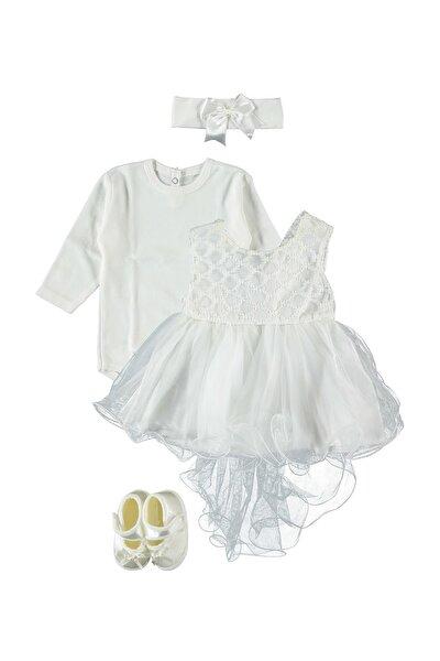 Brode Dantelli 4'lü Kız Bebek Elbise Seti Ekru