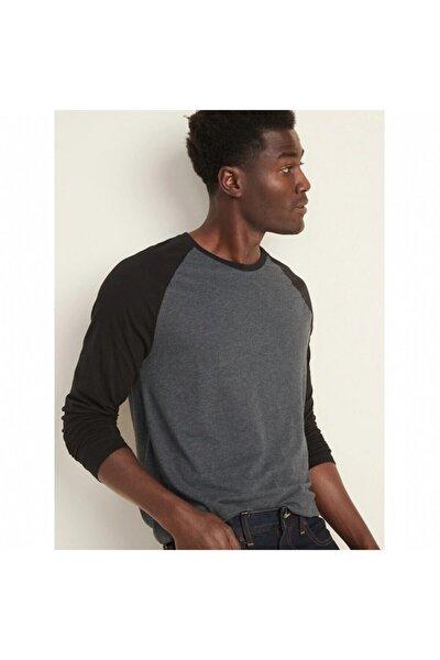 Erkek Uzun Kollu Koyu Grimelanj T-shirt,000354