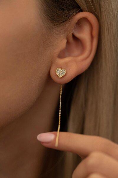 Kadın Kalp Model Altın Kaplama Gümüş İtalyan Sallantılı Küpe PKT-TLYSLVR0080
