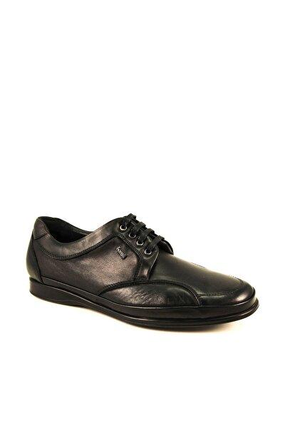 46101 Kemik Çıkıntısına Özel Siyah Deri Erkek Ayakkabısı