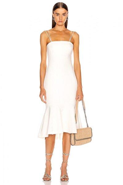 Kadın Volanlı Straplez Kesim Spagetti Askılı Beyaz Elbise 4574096