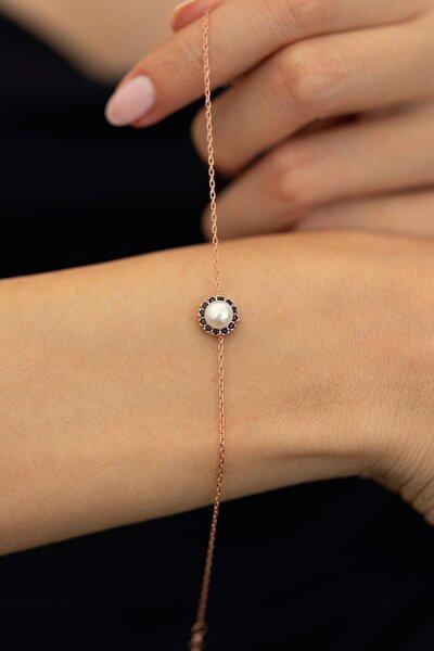 Kadın İnci ve Safir Taşlı Rose Kaplama Gümüş İtalyan Bileklik PKT-TLYSLVR0040