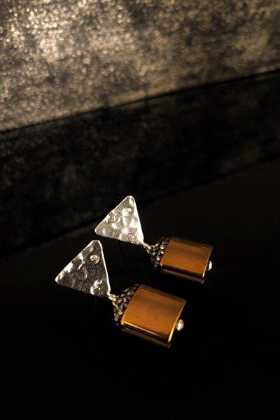 Doğaltaş Kadın Hematit Taşı Gümüş Kaplama Küpe Ryl94