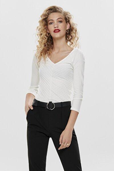 Kadın Beyaz V Yaka Bluz 15186174 ONLGINA 15186174