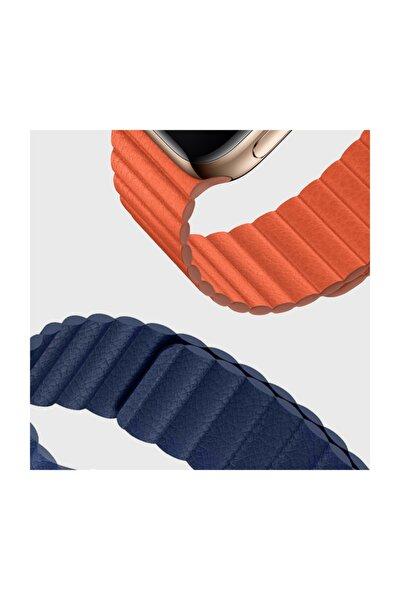 Watch Series 5 44mm Twist Leather Loop Kordon, Microsonic Lacivert