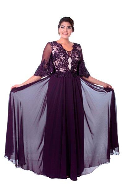 Kadın Mürdüm Kollu Dantelli Uzun Abiye Elbise GZN18156