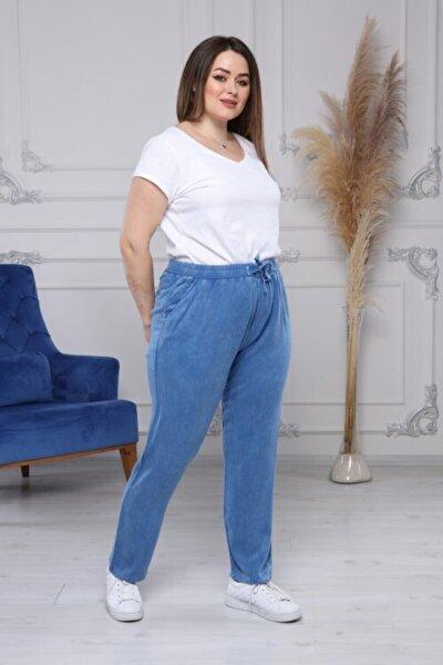Kadın Mavi Pamuklu Terletmez Özel Dokuma Tensel Beli Lastikli Yumuşak Kumaş Pantolon