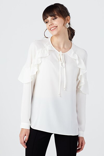 Kadın Ekru Yaka Bağcıklı Bluz 20K.Ekl.Blz.02103.1