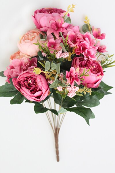 Yapay Çiçek 11 Dal Lüx Incili Gül-ortanca Aranjmanı Pudra Pembe