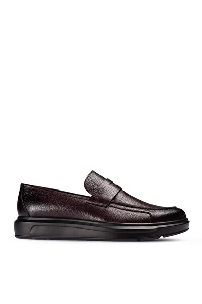 Hakiki Deri Bordo Erkek Loafer Ayakkabı 01564MSYHP05
