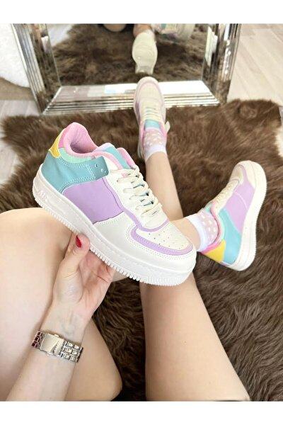 Kadın Krem Lila Sneaker