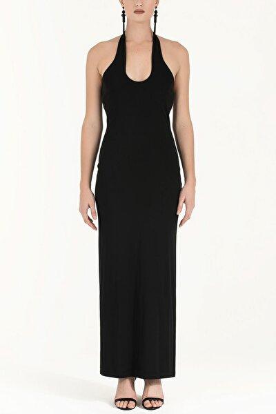 Çapraz Bağlamalı Kolsuz Örme Elbise Siyah 91099