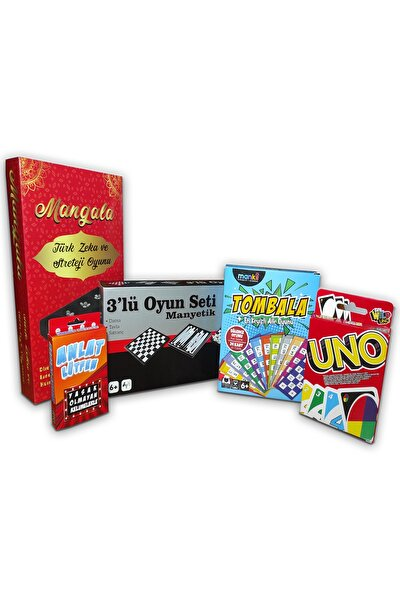 Manyetik 3'lü Oyun Seti ( Tavla Satranç Dama ) Mangala Anlat Lütfen Uno Tombala