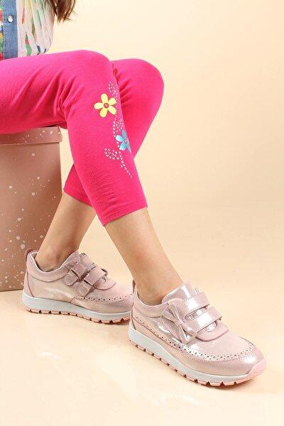 Hakiki Deri Pudra Simli Kız Çocuk Casual Ayakkabı