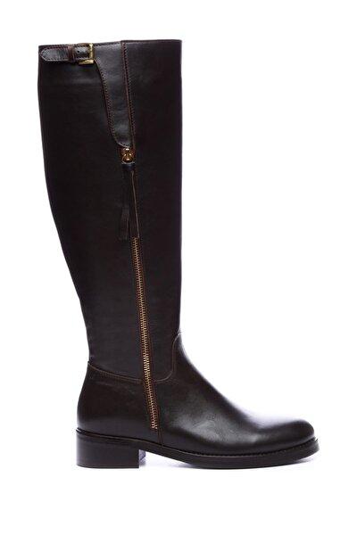 Hakiki Deri Kahverengi Kadın Casual Çizme 51 6370 C BN CIZME
