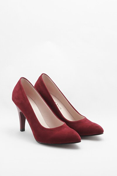 Bordo Kadın Klasik Topuklu Ayakkabı CNR1301Bordo Süet