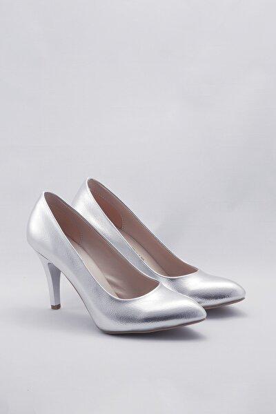 Gümüş Kadın Klasik Topuklu Ayakkabı CNR1301Gümüş Kristal
