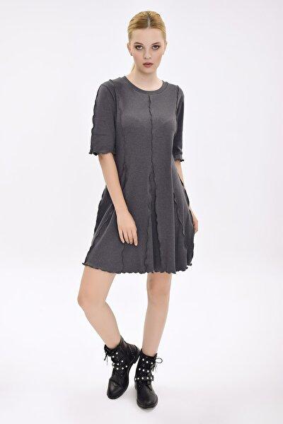 Kadın Gri Kısa Kollu Mini Elbise HN2070