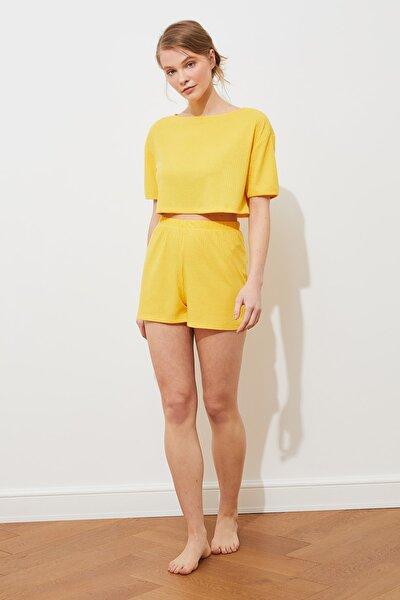 Sarı Kaşkorse Örme Pijama Takımı THMSS21PT0960