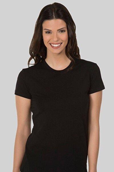 Kadın Siyah Basic Kısa Kollu T-Shirt 41BA50011