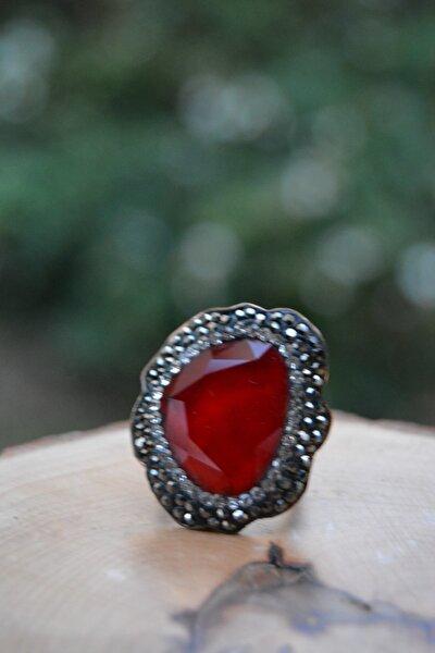 El Yapımı Kırmızı Kristal Ayarlanabilir Yüzük