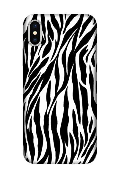 Iphone X Kılıf Desenli Esnek Silikon Telefon Kabı Kapak - Zebradeseni