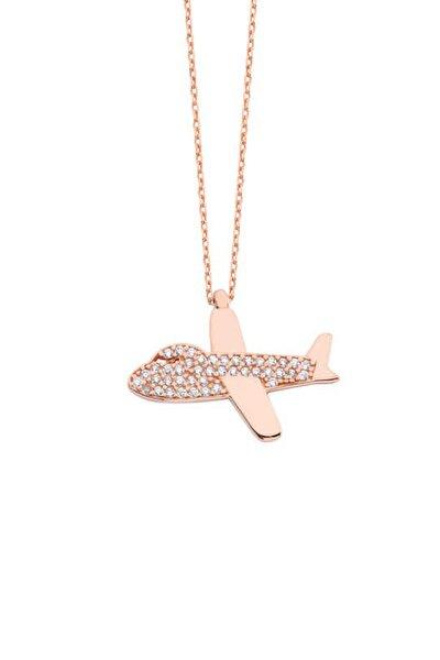 Kadın Uçak Gümüş Kolye - GMS1313  GMS1313