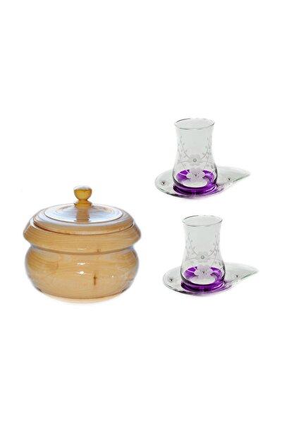 13 Parça Doğa (mor Taşlı) Çay Seti Takımı