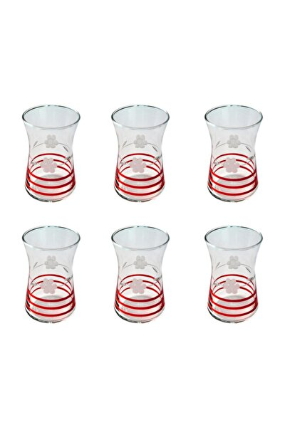 42361 Heybeli Papatya (kırmızı) Dekor 6 Adet Çay Bardağı