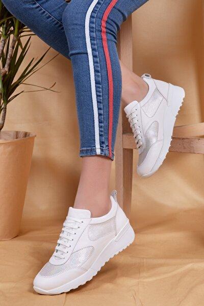 Hakiki Deri Hafif Taban Beyaz Spor Ayakkabı