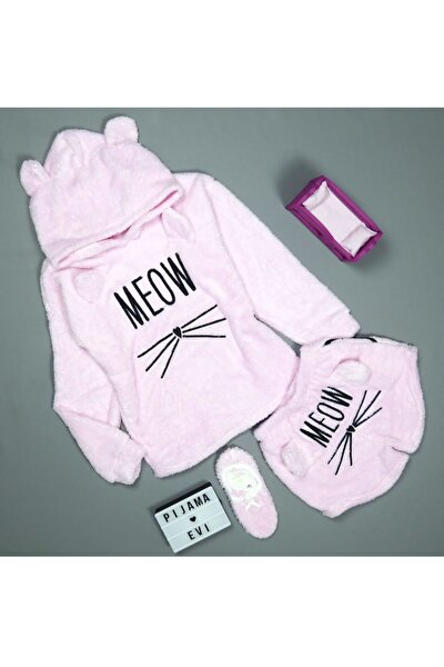 Toz Pembe Meow Desenli Şortlu Tam Peluş Pijama Takımı