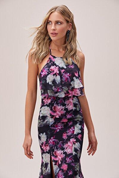 Kadın Desenli Çiçek Desenli Boyundan Bağlı Şifon Uzun Elbise 4XLVC3815