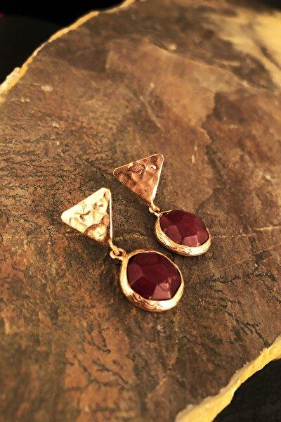 Doğaltaş Rose Altın Kaplama Kadın El Yapımı   Jade Taşı Küpe Krb489