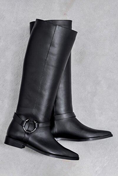 ESTELITA Hakiki Deri Siyah Kadın Çizme