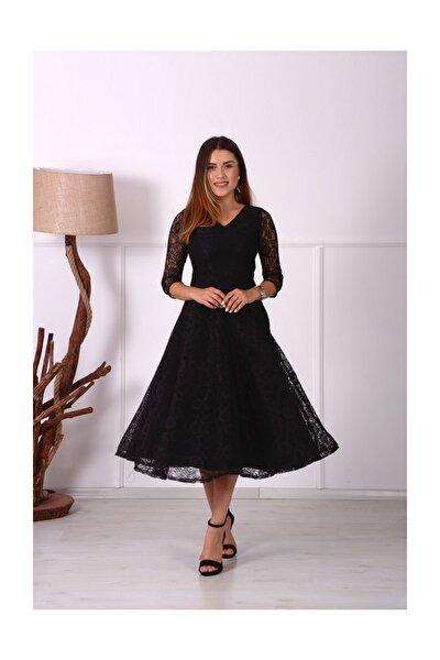 Kadın Siyah Full Dantel Midi Elbise  GYM-0509-D_SYH