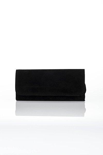 Kadın Siyah Mıknatıslı Zincirli Suet Portföy Çanta  S-20K3100005