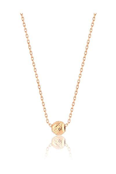 925 Ayar Rose Altın Kaplama Gümüş Dorica Top Kolye