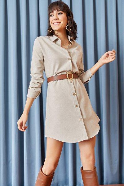 Kadın Taş Kaşe Gömlek Elbise ELB-19000953