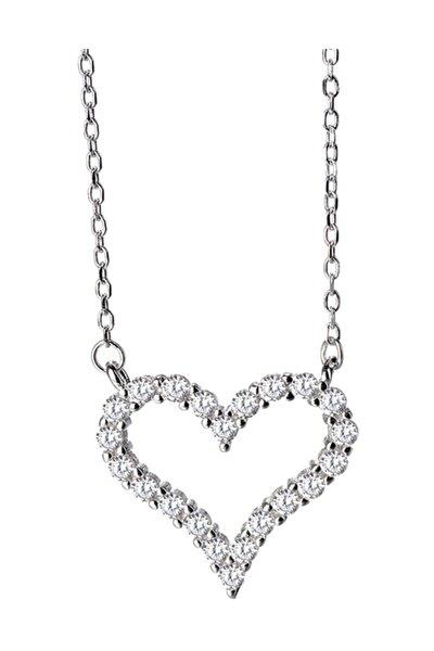 Gümüş Zirkon Taşlı Kalp Bayan Gümüş Kolye