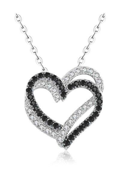 Gümüş Kalbim Kalbinde Çift Kalp Mineli Taşlı Bayan Kolye