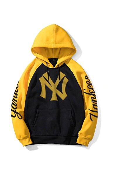 Ny Yankees Siyah Sarı Kapşonlu Hoodie
