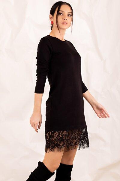 Kadın Siyah Alti Dantelli Triko Elbise ARM-20K001109