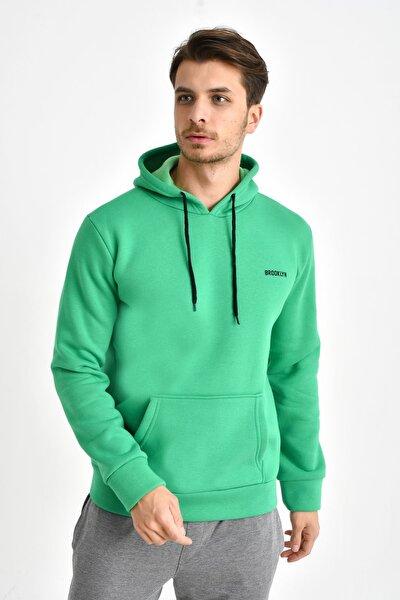 Benetton Yeşili Baskılı Kapş.Kanguru Cepli Sweatshırt
