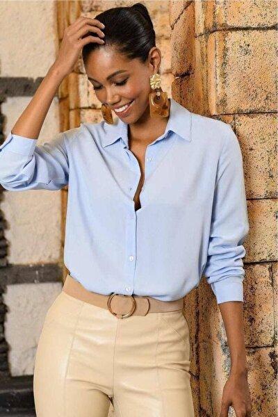 Düz Renk Dokuma Viskon Kumaş Basic Gömlek Buz Mavi
