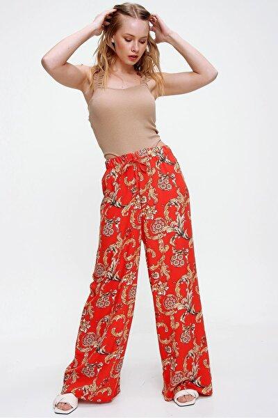 Kadın Kiremit Desenli Rahat Kesim Salaş Dokuma Pantolon Rd00001