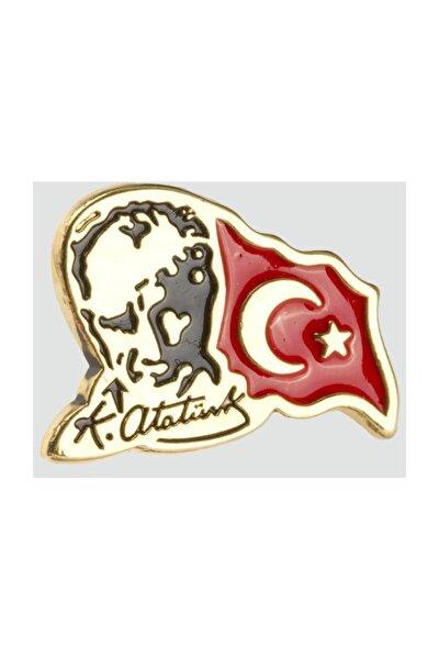 Ay Yıldız Tük Bayrağı Atatürk Resimli Sarı Yaka Rozeti