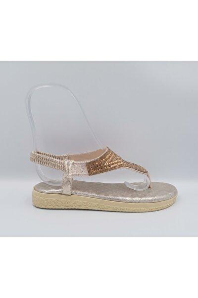 Kadın Altın Pullu Parmak Arası  Sandalet