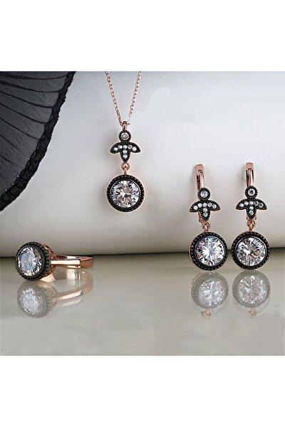Kadın Elmas Montür Gümüş Set