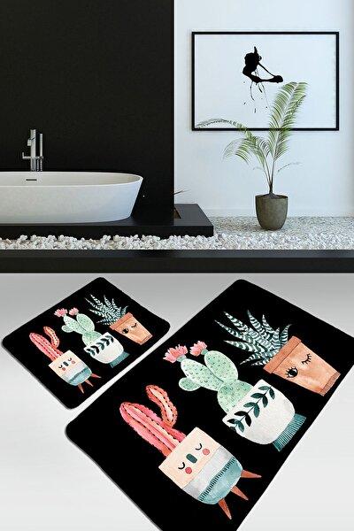 Happy Cactus Djt Siyah 2 Li Set Banyo Halısı Takımı, Klozet Paspası