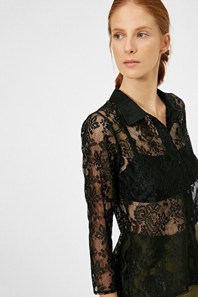 Kadın Siyah Dantel Detayli T-Shirt